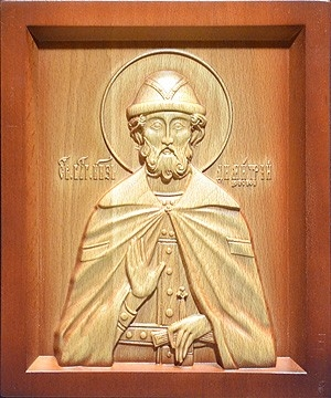 Carved icon: of Holy Right-believing Great Prince Dimetrius of Don