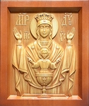 Carved icon: of Most Holy Theotokos the Inexhaustible Cup