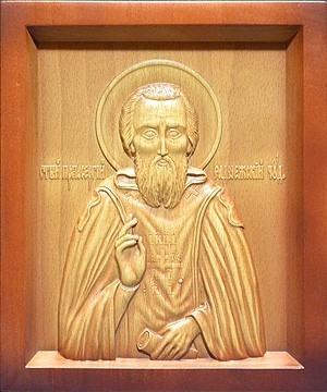 Carved icon: of Holy Venerable Sergius of Radonezh