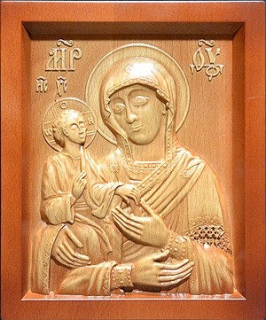 Carved icon: of the Most Holy Theotokos the Three Hands