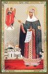 Religious Orthodox icon: Appearance of Holy Archangel Michael to Holy Venerable Ephrosinija