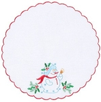 Embroidered napkin Happy Snowman