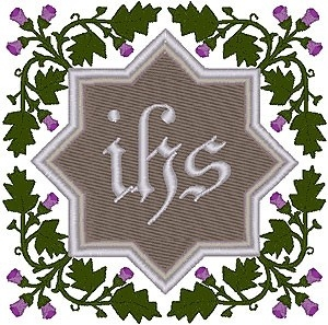 Christogram & Thistle Border embroidered applique