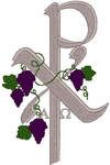 Adorned Chi Rho with Alpha & Omega embroidered applique