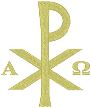 Chi Rho Alpha & Omega embroidered applique