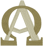 Intertwined Alpha & Omega #1 embroidered applique