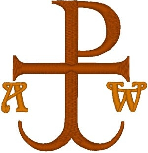 Chi Rho Anchor Cross with Alpha & Omega embroidered applique