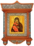 Icon cases: Simple carved icon case with basma and roof