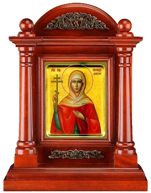 Icon cases: Terem icon case with metal ornament