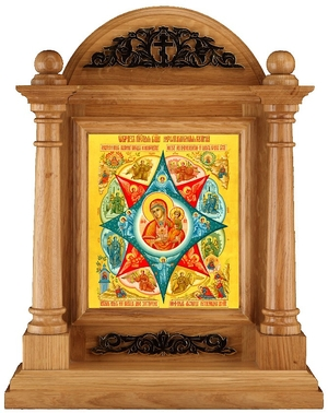Icon cases: Oak icon case with metal ornament