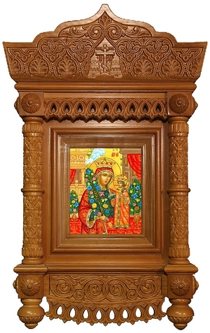 Icon cases: Tikhvin complex carved icon case with roof