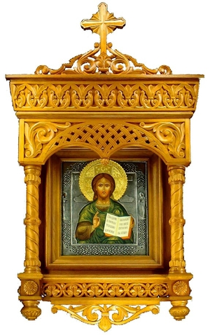 Icon cases: Cathedral complex carved icon case with roof