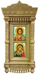 Icon cases: Double Tikhvin complex carved icon case