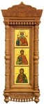 Icon cases: Triple Tikhvin complex carved icon case