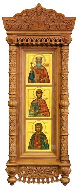 Icon cases: Triple Tikhvin complex carved icon case