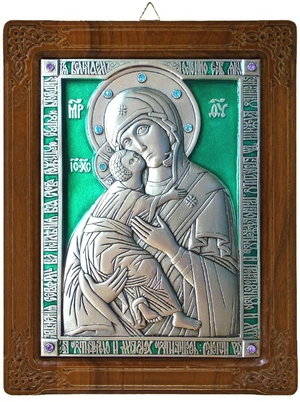 Icon of the Most Holy Theotokos of Vladimir (enameled)