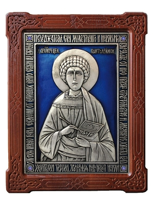 Icon of the Holy Great Martyr and Healer Pantheleimon (enamel)