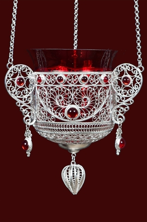 Vigil lamps: Filigree oil lamp no.15-16