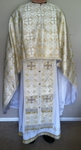 "Greek Priest vestment set (white/gold Greek meallic brocade): 46-47"" (European size: 58-60), height- 70-73"" (178-182 cm)"