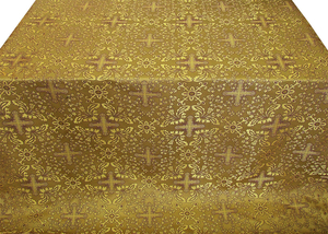 Athens metallic brocade (yellow/gold with claret outline)