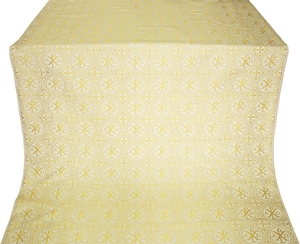 Greek Alpha-and-Omega metallic brocade (white/gold)