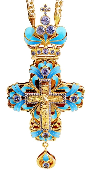 Clergy jewelry pectoral cross no.13 (light-blue)