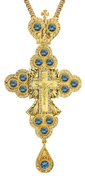 Clergy jewelry pectoral cross no.32 (blue stones)