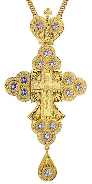 Clergy jewelry pectoral cross no.32 (clear stones)
