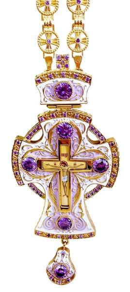 Clergy jewelry pectoral cross no.38 (violet enamel)
