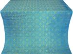Alpha-and-Omega metallic brocade (blue/gold)