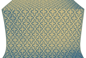 Solovki silk (rayon brocade) (blue/gold)
