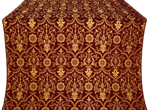 Prestol silk (rayon brocade) (claret/gold)