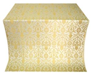 Prestol silk (rayon brocade) (white/gold)