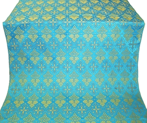 Vine silk (rayon brocade) (blue/gold)