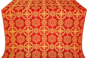 Carpathian silk (rayon brocade) (red/gold)