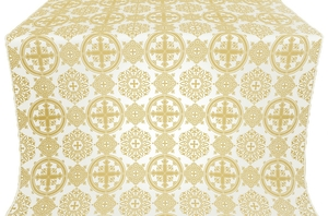 Carpathian silk (rayon brocade) (white/gold)