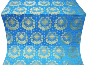 Nativity Star silk (rayon brocade) (blue/gold)