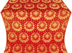 Nativity Star silk (rayon brocade) (red/gold)