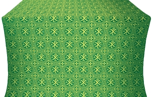 Alpha-and-Omega metallic brocade (green/gold)