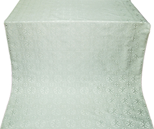Alpha-and-Omega silk (rayon brocade) (white/silver)