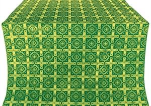 Ryazan silk (rayon brocade) (green/gold)