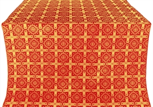 Ryazan silk (rayon brocade) (red/gold)