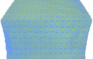 Floral Cross silk (rayon brocade) (blue/gold)