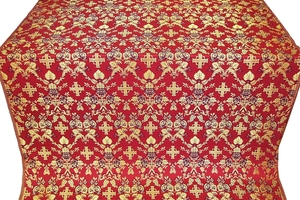 Fevroniya silk (rayon brocade) (red/gold)