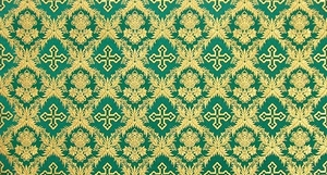 Nativity metallic brocade (green/gold)