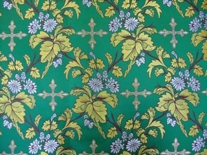 Paradise Garden metallic brocade (green/gold)