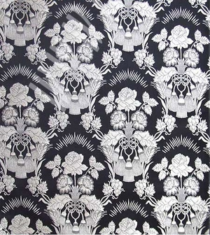 Festal Bouquet metallic brocade (black/silver)
