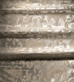Greek Eagle metallic brocade (white/silver)