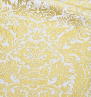 Damask metallic brocade (white/gold)