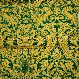 Damask metallic brocade (green/gold)